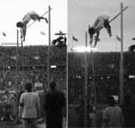 ベルリン五輪男子棒高跳びで跳躍する西田修平選手(左)と大江季雄選手