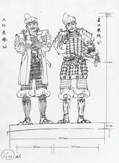 新井浩さんが描いた景勝・兼続主従の銅像の原画