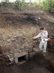 北野天満宮の本殿北側の御土居で見つかった取水口。暗渠(排水トンネル)が紙屋川側の排水口まで約19m繋がっている