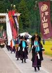 山国護国神社の例祭で行進する山国隊軍楽保存会